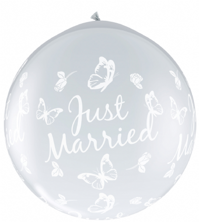 3FT Diamond Clear  Just Married Butterfly Latex Balloons Neck Up x 2